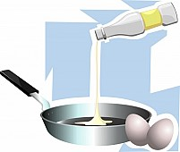 Free egg oil and plate Illustration