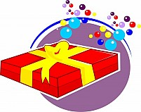 Free gift box and color spots Illustration