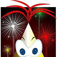 Free cartoon and fire works Illustration