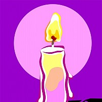 Free candle with violet back ground Illustration