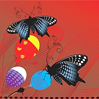 Free butterflies with balloons Illustration