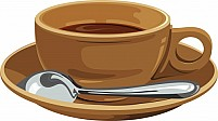 Free saucer with coffee cup and spoon Illustration