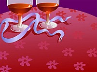 Free Two wine glass and ribbon Illustration