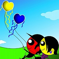 Free Couple Holding Balloons
