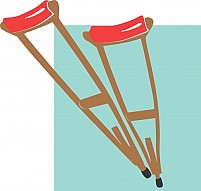 Free Crutches with red Cushion Illustration