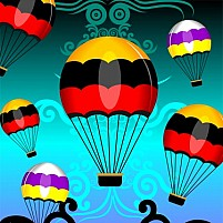 Free Parachute In Colour Background Illustration