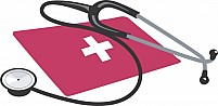 Free stethoscope and red cross symbol Illustration