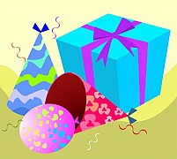 Free Gift box Hat And Balloons Illustration