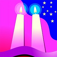 Free Candle Lighted And Stars Illustration