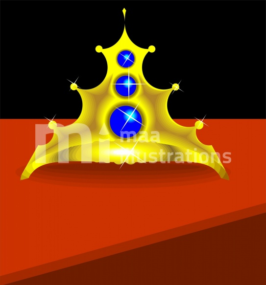 Free Golden Crown With Blue Stones Illustration
