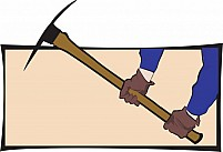 Free pick axe in the hands of man worn glove Illustration