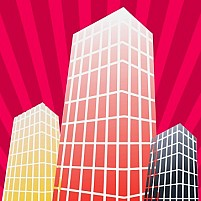 Free group of sky scrappers in moon light Illustration