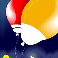 Free balloons, moon and flowers Illustration