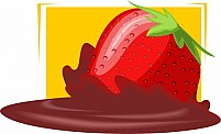 Free Strawberry In A Plate With Chocolate Illustration
