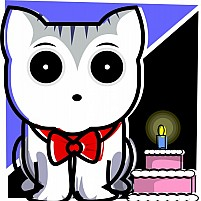 Free Cat Standing Near A Birthday Illustration