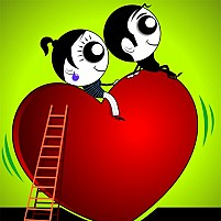 Free Ccouple Sitting On Top Of A Heart Symbol