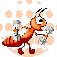 Free Ant With Dumb - Bell Illustration