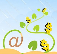 Free Dollar With At The Rate Plant Illustration