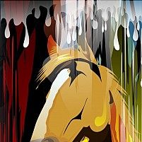 Free Horse standing in the rain Illustration