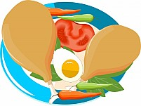 Free meat tomato peace egg roast and chillies in a plate Illustration