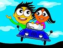 Free couple riding in a car Illustration