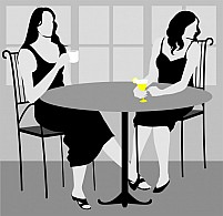 Free  Ladies Sitting In A Cafeteria Illustration