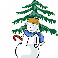 Free Christmas Tree With Doll  Illustration