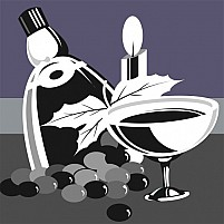 Free Decorative Drinks With Grapes And Candle Light Illustration