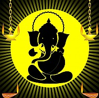 Free Lord Ganesha and divine lamps Illustration