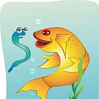 Free fish and snake face to face with sea Illustration