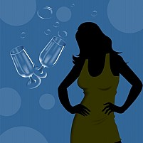 Free Wine Glass And Lady Illustration