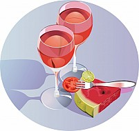 Free goblet glass with wine and fruits Illustration