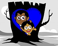 Free  couple hiding in a tree nest Illustration