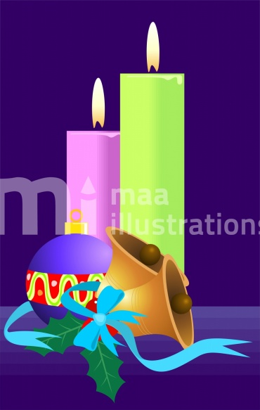 Free Candle with bells Illustration
