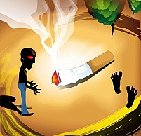Free Man staring at burning cigarette Illustration