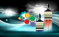 Free paint brushes placed near rounds Illustration