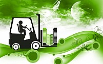 Free fork lifter driving with building block Illustration